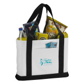 Contender White/Black Canvas Tote-Primary Mark Stacked