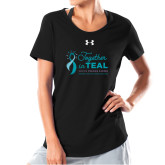 Ladies Under Armour Black Charged Cotton Tee-Primary Mark Stacked
