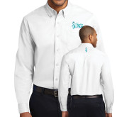 White Twill Button Down Long Sleeve-Secondary Mark Stacked