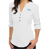 Ladies Glam White 3/4 Sleeve Blouse-Secondary Mark Stacked
