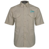 Khaki Short Sleeve Performance Fishing Shirt-Secondary Mark Stacked