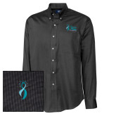 Cutter & Buck Black Nailshead Long Sleeve Shirt-Secondary Mark Stacked