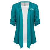 Ladies Teal Drape Front Cardigan-Secondary Mark Stacked