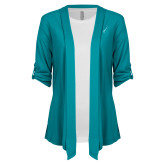 Ladies Teal Drape Front Cardigan-Ribbon