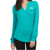 Ladies Lux Teal Split Neck Blouse-Secondary Mark Stacked