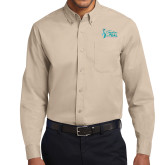 Khaki Twill Button Down Long Sleeve-Secondary Mark Stacked