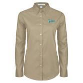 Ladies Khaki Twill Button Down Long Sleeve-Secondary Mark Stacked