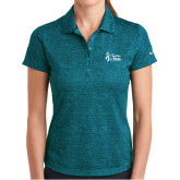 Ladies Nike Dri Fit Teal Crosshatch Polo-Secondary Mark Stacked