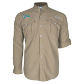 Columbia Bahama II Khaki Long Sleeve Shirt-Secondary Mark Stacked