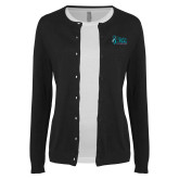 Ladies Black Cardigan-Secondary Mark Stacked