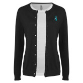 Ladies Black Cardigan-Ribbon