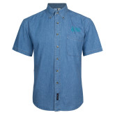 Denim Shirt Short Sleeve-Secondary Mark Stacked
