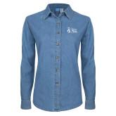 Ladies Denim Long Sleeve Shirt-Secondary Mark Stacked