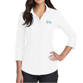 Ladies Red House White 3/4 Sleeve Shirt-Secondary Mark Stacked