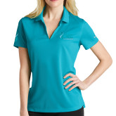 Ladies Nike Golf Dri Fit Teal Micro Pique Polo-Secondary Mark Stacked