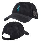 Kryptek Typhon Black U.S. Flag Hat-Ribbon Puff Logo