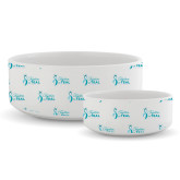 Ceramic Dog Bowl-Primary Logo Repeating Pattern