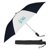 42 Inch Slim Stick Black/White Vented Umbrella-Primary Mark Stacked