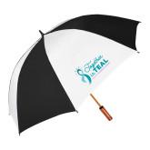 62 Inch Black/White Vented Umbrella-Secondary Mark Stacked