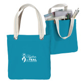 Allie Turquoise Canvas Tote-Secondary Mark Stacked