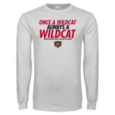 White Long Sleeve T Shirt-Once a Wildcat...