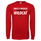 Red Long Sleeve T Shirt-Once a Wildcat...