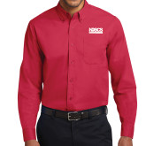 Red Twill Button Down Long Sleeve-NDSCS w/ Science of Success Tagline