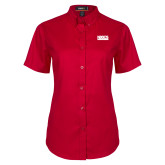 Ladies Red Twill Button Up Short Sleeve-NDSCS w/ Science of Success Tagline