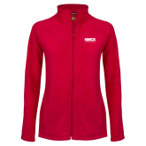 Ladies Fleece Full Zip Red Jacket-NDSCS w/ Science of Success Tagline - No box