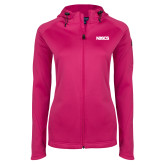 Ladies Tech Fleece Full Zip Hot Pink Hooded Jacket-NDSCS