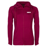 Ladies Sport Wick Stretch Full Zip Deep Berry Jacket-NDSCS