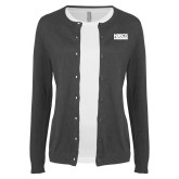 Ladies Charcoal Cardigan-NDSCS w/ Science of Success Tagline