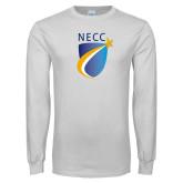 White Long Sleeve T Shirt-NECC Shield