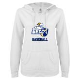 ENZA Ladies White V Notch Raw Edge Fleece Hoodie-Baseball