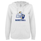 ENZA Ladies White V Notch Raw Edge Fleece Hoodie-Basketball