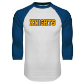 White/Royal Raglan Baseball T Shirt-Knights