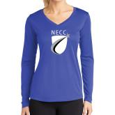 Ladies Syntrel Performance Royal Longsleeve Shirt-NECC Shield