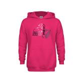 Youth Raspberry Fleece Hoodie-Primary Mark  Foil