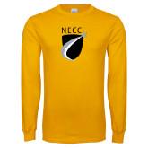 Gold Long Sleeve T Shirt-NECC Shield