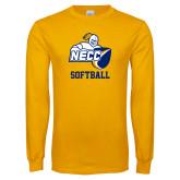 Gold Long Sleeve T Shirt-Softball