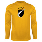 Performance Gold Longsleeve Shirt-NECC Shield