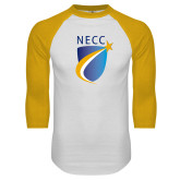 White/Gold Raglan Baseball T Shirt-NECC Shield