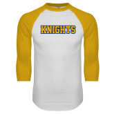 White/Gold Raglan Baseball T Shirt-Knights