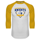 White/Gold Raglan Baseball T Shirt-Baseball