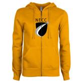 ENZA Ladies Gold Fleece Full Zip Hoodie-NECC Shield