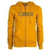 ENZA Ladies Gold Fleece Full Zip Hoodie-Knights
