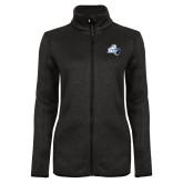 Black Heather Ladies Fleece Jacket-Primary Mark