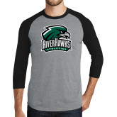 Grey/Black Tri Blend Baseball Raglan-RiverHawks Athletics