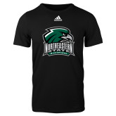 Adidas Black Logo T Shirt-Northeastern State RiverHawks w/Hawk Head