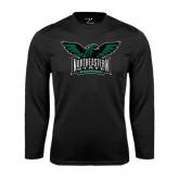 Performance Black Longsleeve Shirt-Alternate Full Hawk Logo Full Color